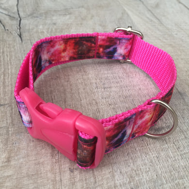 Dog Collar - Galaxy with Hot Pink Plastic Buckle - Size Small