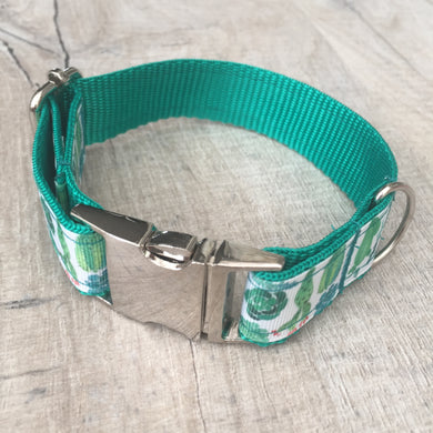Dog Collar - Cactus with Metal Buckle - Size Medium