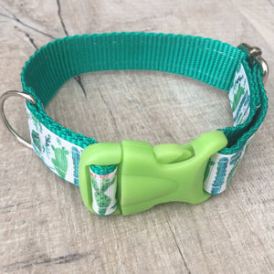 Dog Collar - Cactus with Green Plastic Buckle - Size Small