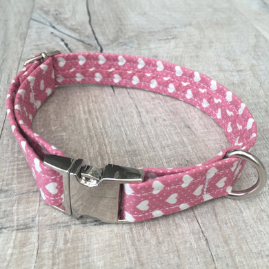 Dog Collar - Pink Hearts with Metal Buckle - Size Small