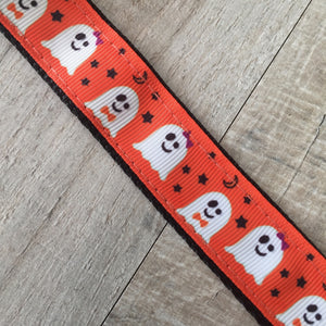 Dog Collar - Halloween Ghosts with Black Plastic Buckle - Size Small