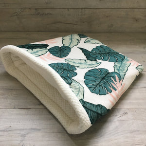 Dog Bed - Palms with Cream Fleece