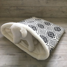Dog Bed - Black Aztec with Cream Fleece