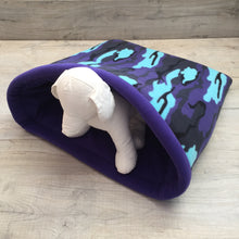 Dog Bed - Camo with Purple Fleece
