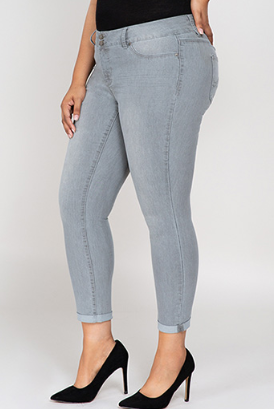 Alyssa Plus Size Cuffed Ankle Jeans