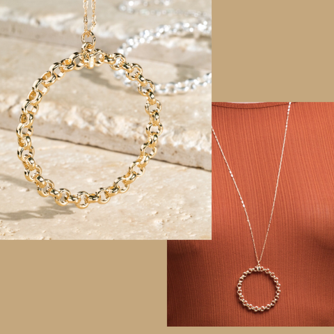 O-Ring Gold Tone Drop Necklace