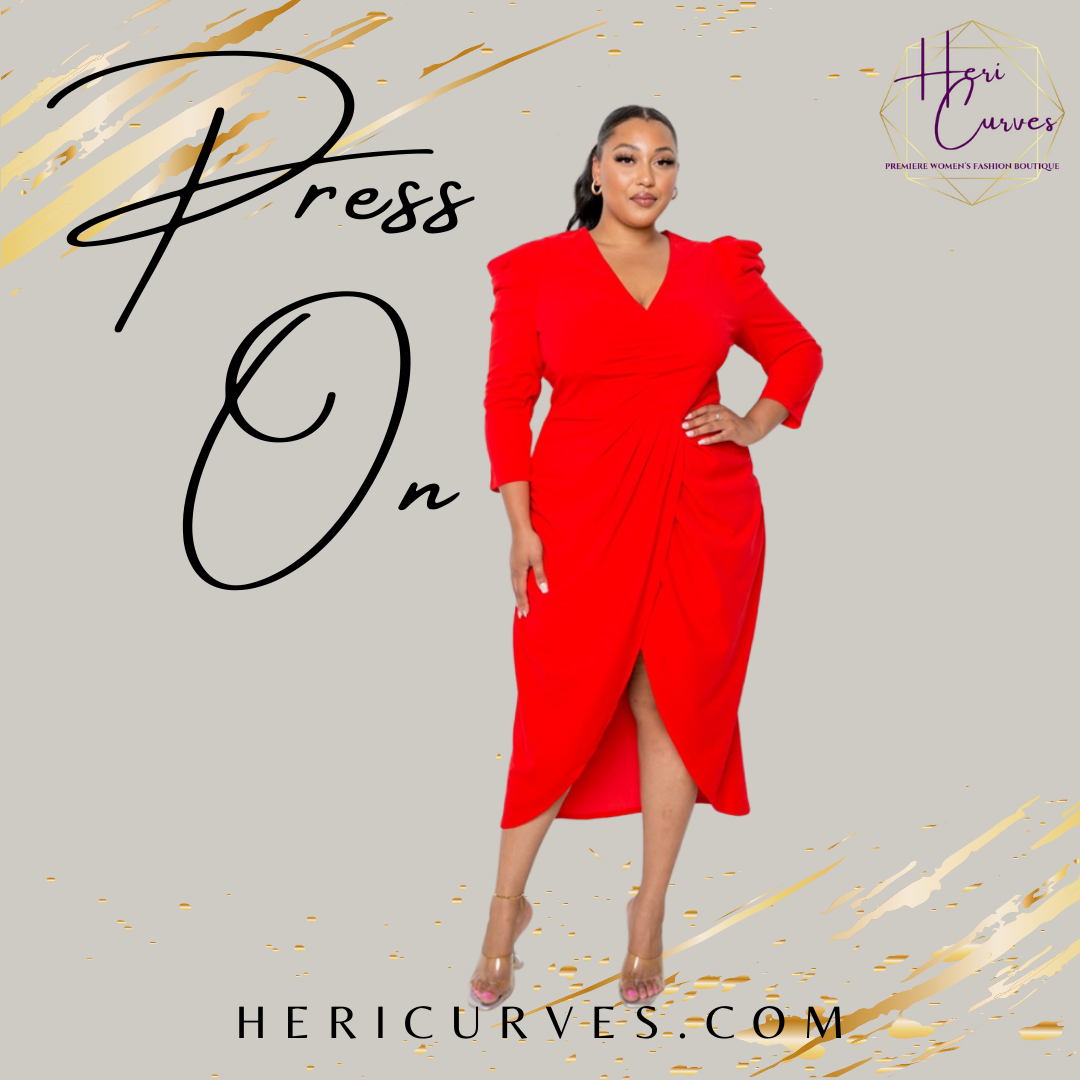 Press On Plus Size Wrap Midi Dress