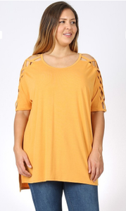 Jen CrissCross Sleeve Plus Size Tunic