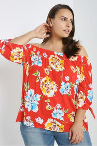 Off Shoulder Floral Plus Size Top