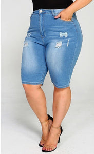 Distressed Plus Size Bermuda Shorts
