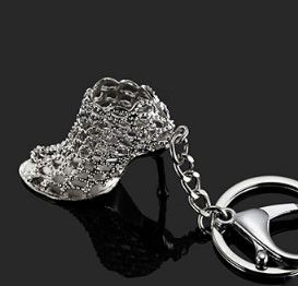 Silver High Heeled Bootie Key Chain