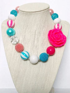 Bubble Gum Bead and Flower Fashion Necklace