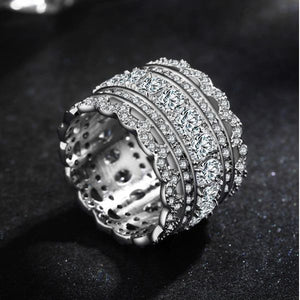 Luxury Silver AAA CZ Pave Band Ring