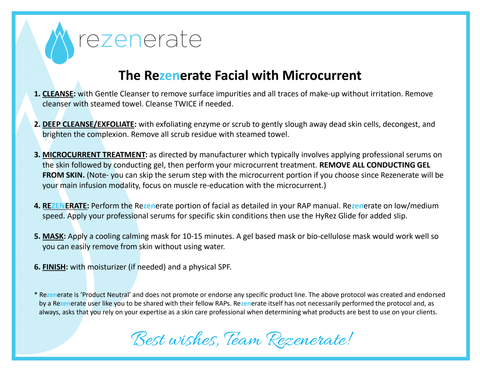 Rezenerate and Microcurrent facial protocol