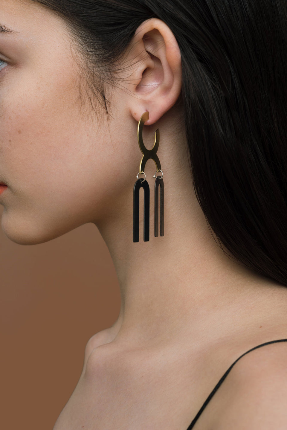 Black Parallel Hoop Earrings