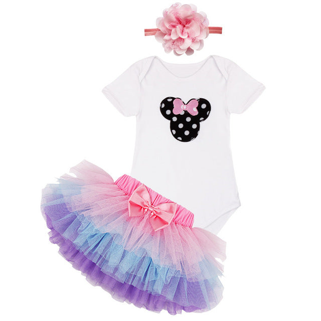 1st First Birthday Baby Girl Party Outfit 3PCS  Sets Top, Tutu Skirt, Hairband