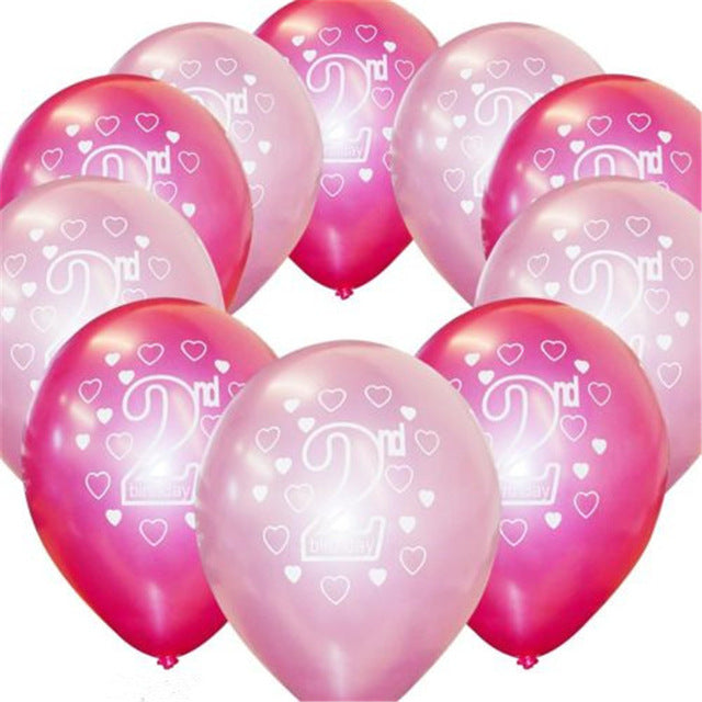 10pcs Baby First & 2nd Birthday Girl/ Boy Latex Balloons
