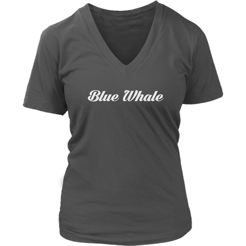 Blue Whale Women Caligraphy V-Neck