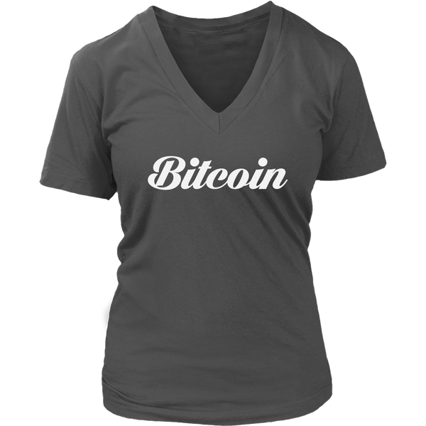 Bitcoin V-Neck Caligraphy shirt-T-shirt-CryptoBird
