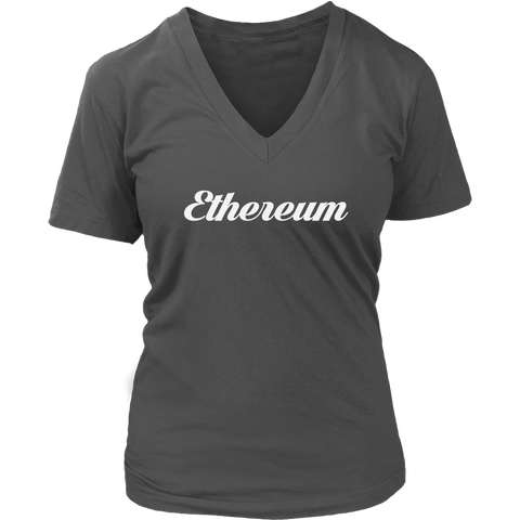 Ethereum V-Neck Caligraphy shirt-T-shirt-CryptoBird