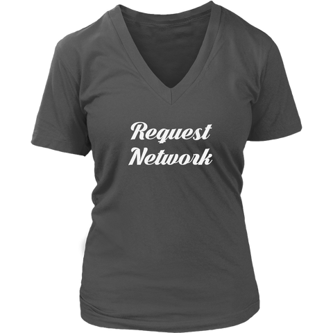 Request Network V-Neck Caligraphy shirt-T-shirt-CryptoBird
