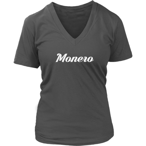 Monero V-Neck Caligraphy shirt-T-shirt-CryptoBird