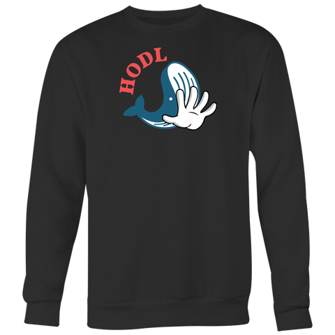 Blue Whale Hodl Crewneck (Multi-Color)-T-shirt-CryptoBird