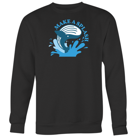 Blue Whale Splash Crewneck (Multi-Color)-T-shirt-CryptoBird