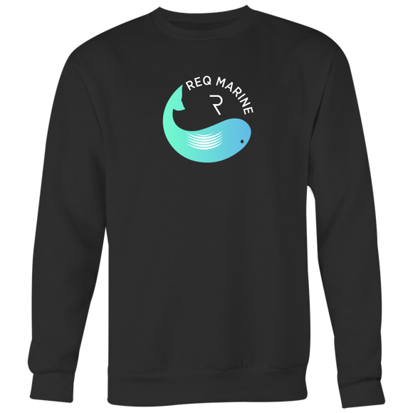 Req Whale Crewneck (Multi-Color)-T-shirt-Onyx Black-S-CryptoBird