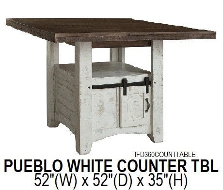 Pueblo White Counter Height Table