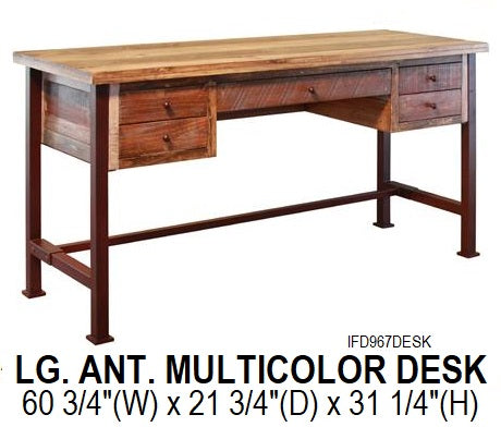 Large Antique Multicolor Desk