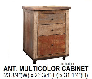Antique Multicolor Filing Cabinet