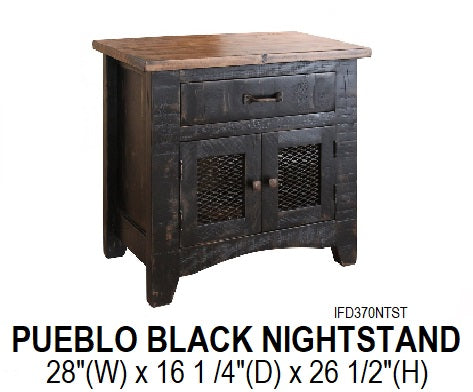 Pueblo Black Nightstand