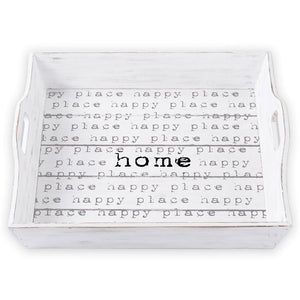 Happy Home Planked Wood Tray
