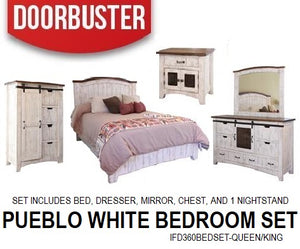 Pueblo White Bedroom Set