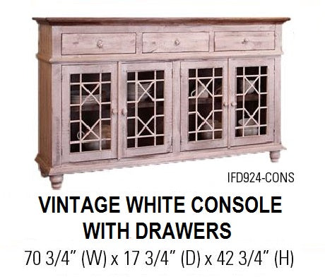 Vintage White Console with Drawers