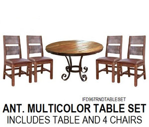 Round Antique Multicolor Dining Set