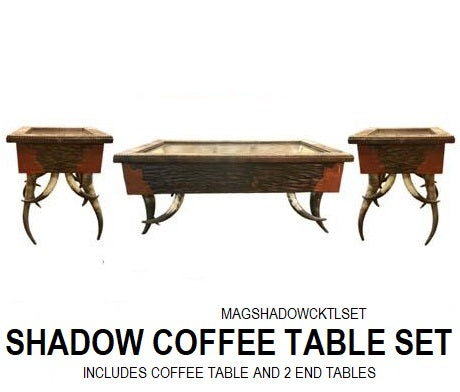 Cowhide Shadow Box Coffee Table Set