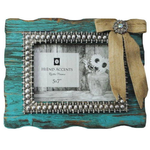 Burlap Bow Turquoise Picture Frame