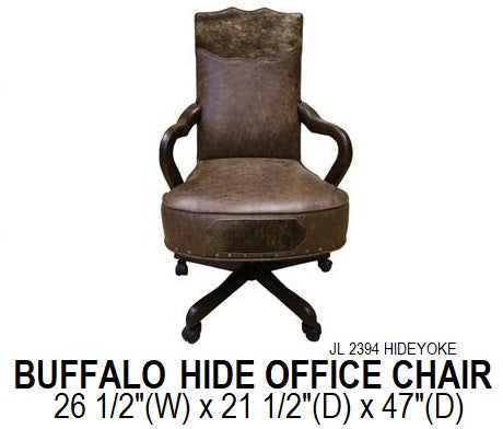 Buffalo Brown Cowhide Yoke Office Chair