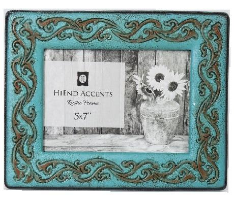 Turquoise Leather Scrolled Frame