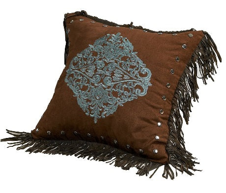Embroidered Fringe Pillow