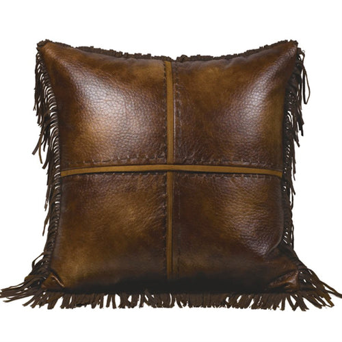 Cross Stitched Faux Leather Pillow