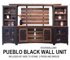 Pueblo Black Wall Unit – Rustic Furniture Depot