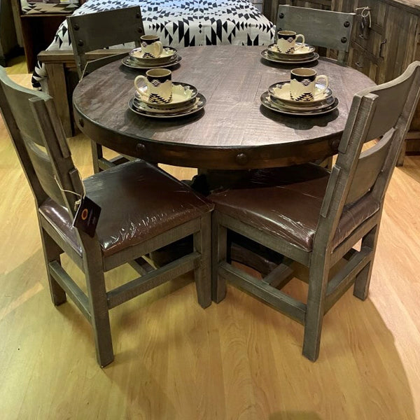 Round Weathered Farmhouse Dining Set