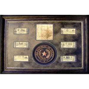 Texas Map, Seal, and Money Art
