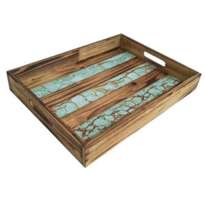 Turquoise Inlay Wooden Tray