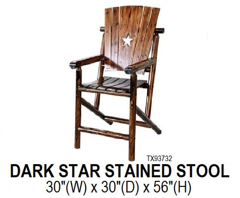 Dark Stained Star Barstool