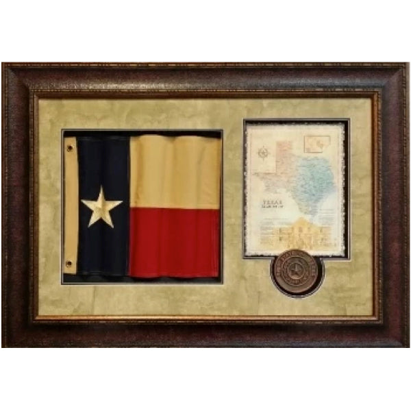 Wavy Texas Flag with Map and Seal