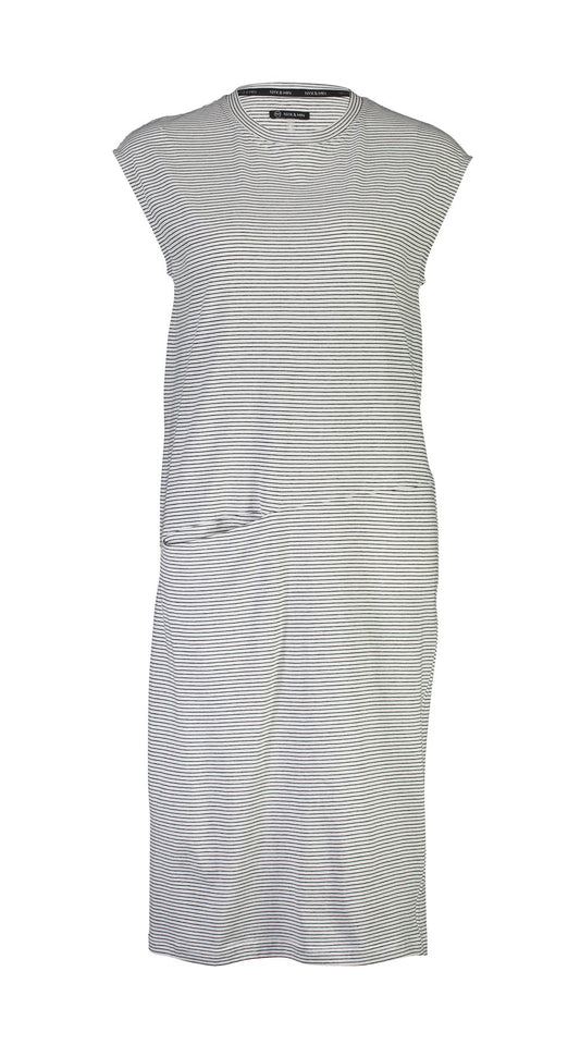 LUCILLE DRESS - WHITE-BLACK STRIPE
